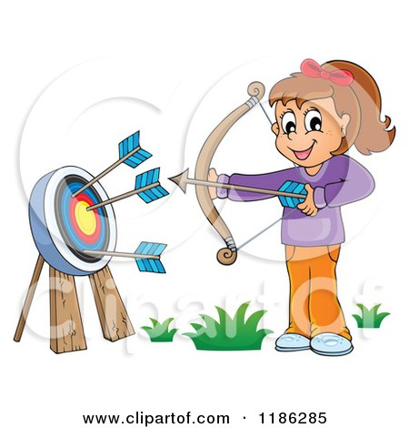 Cartoon of a Happy Archery Girl Shooting Arrows - Royalty Free Vector Clipart by visekart