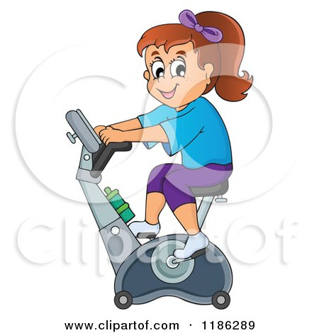 Cartoon of a Happy Girl Riding an Upright Spin Bike at the Gym - Royalty Free Vector Clipart by visekart