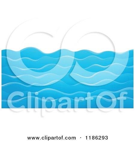 Cartoon of Choppy Blue Water Waves - Royalty Free Vector Clipart by visekart