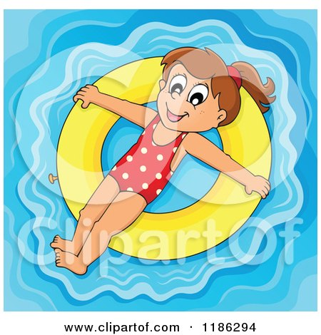 Cartoon of a Happy Girl Floating on a Yellow Inner Tube - Royalty Free Vector Clipart by visekart