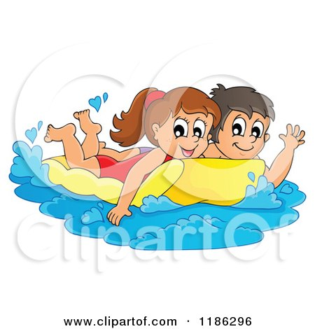Cartoon of a Happy Children Swimming on an Inflatable Mattress - Royalty Free Vector Clipart by visekart