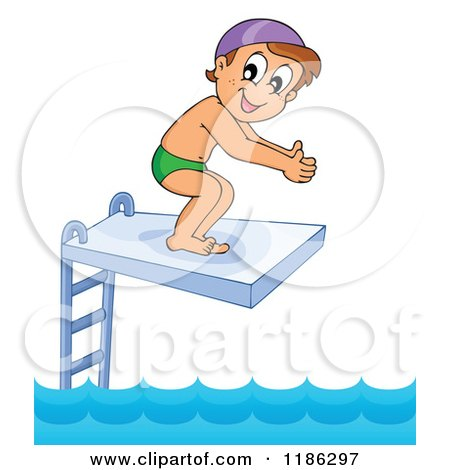Cartoon of a Happy Boy on a Diving Board - Royalty Free Vector Clipart by visekart