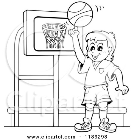 Cartoon of an Outlined Happy Boy Spinning a Basketball by a