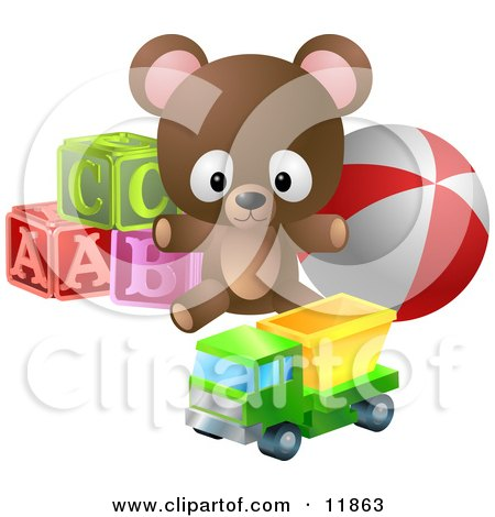 Cute Little Brown Teddy Bear With Alphabet Blocks, a Ball and a Truck Toy Posters, Art Prints