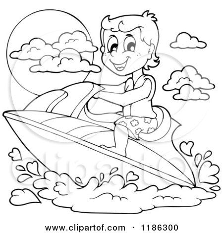 Cartoon of an Outlined Happy Boy Wind Surfing - Royalty Free Vector Clipart by visekart