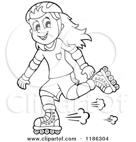 Roller Skates Color Drawing Happy Girl Roller Blading
