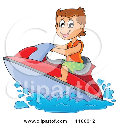 Cartoon of a Happy Boy Wind Surfing - Royalty Free Vector Clipart by visekart