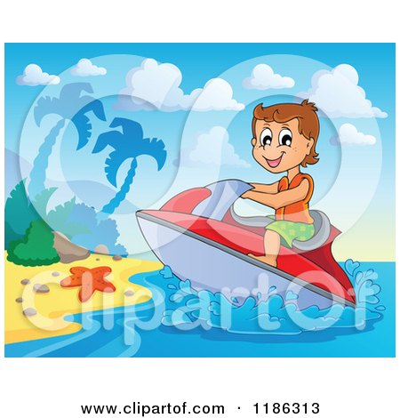 Cartoon of a Happy Boy Wind Surfing to a Beach - Royalty Free Vector Clipart by visekart