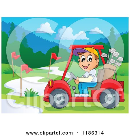 Cartoon of a Happy Man Driving a Golf Cart on a Course - Royalty Free Vector Clipart by visekart