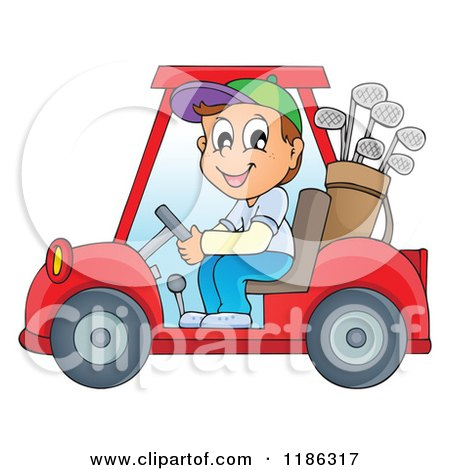 Cartoon of a Happy Man Driving a Golf Cart - Royalty Free Vector Clipart by visekart