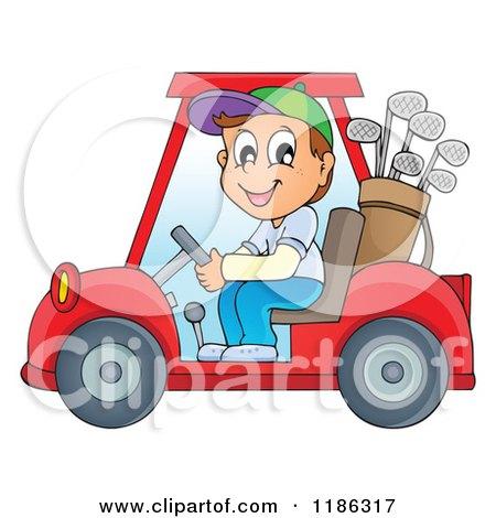 Cartoon Of A Happy Man Driving A Golf Cart Royalty Free Vector Clipart