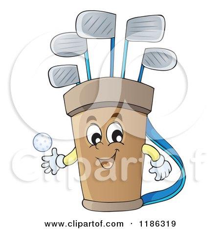 Cartoon Of A Happy Golf Bag Mascot Royalty Free Vector Clipart