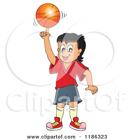 Cartoon of a Happy Boy Spinning a Basketball - Royalty Free Vector Clipart by visekart