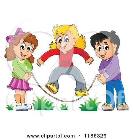 Cartoon of Happy Children Playing Jump Rope - Royalty Free Vector Clipart by visekart