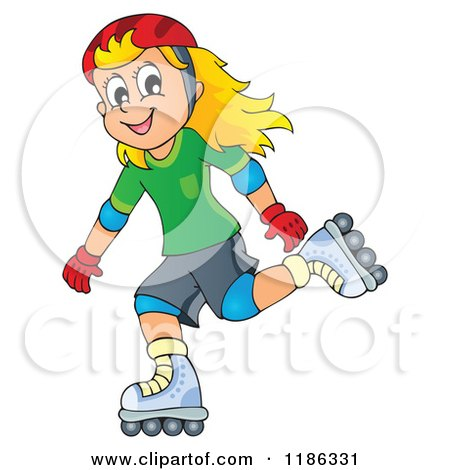 Cartoon of a Happy Girl Roller Blading - Royalty Free Vector Clipart by visekart
