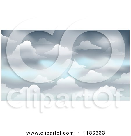 Cartoon of a Gray Cloudy Sky Background - Royalty Free Vector Clipart by visekart