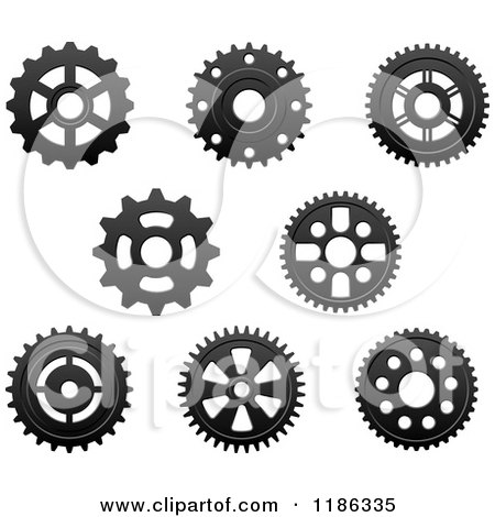 Clipart of Black and White Gear Cog Wheels 2 - Royalty ...