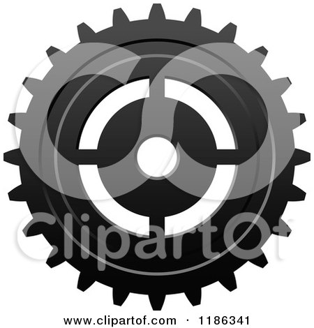 Clipart of a Black and White Gear Cog Wheel 6 - Royalty Free Vector Illustration by Vector Tradition SM