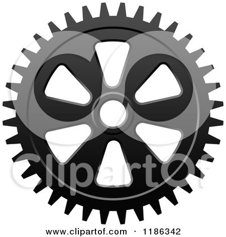Clipart of a Black and White Gear Cog Wheel 7 - Royalty Free Vector Illustration by Vector Tradition SM