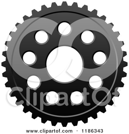 Clipart of a Black and White Gear Cog Wheel 8 - Royalty Free Vector Illustration by Vector Tradition SM