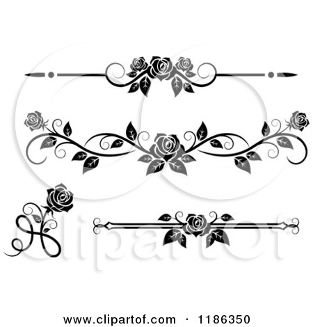 Clipart of Black and White Ornate Rose Borders and Page Rules - Royalty Free Vector Illustration by Vector Tradition SM