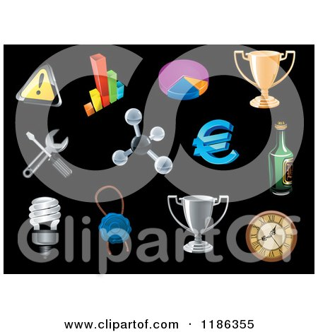 Clipart of a Icons on Black - Royalty Free Vector Illustration by Vector Tradition SM