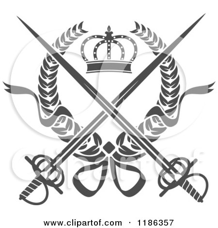 Clipart of a gray laurel wreath with a crown and crossed for Crossed swords tattoo