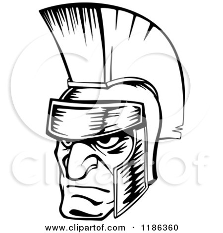 Clipart of a Black and White Angry Spartan Warrior Face - Royalty Free Vector Illustration by Vector Tradition SM