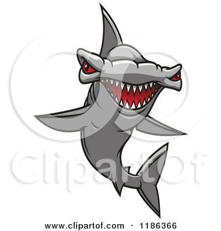 Clipart of a Red Eyed Hammerhead Shark 2 - Royalty Free Vector Illustration by Vector Tradition SM
