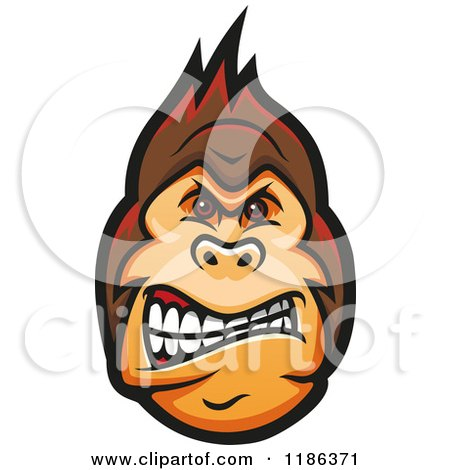 Clipart of a Mad Gorilla Face 2 - Royalty Free Vector Illustration by Vector Tradition SM