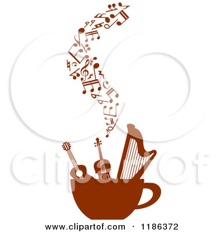 Clipart of a Coffee Cup with a Guitar Violin Harp and
