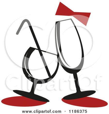 Clipart of a Red Bow over Champagne and Cocktail Glasses - Royalty Free Vector Illustration by Vector Tradition SM