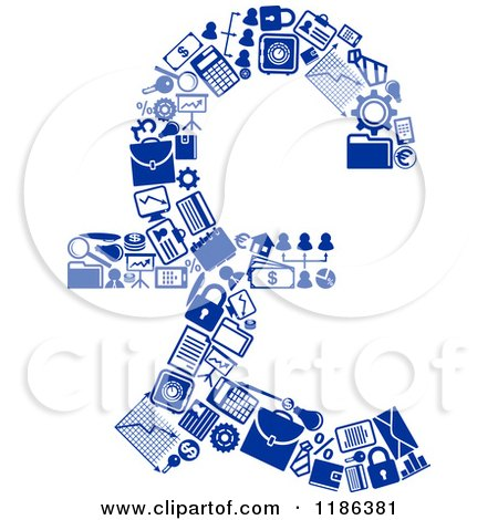 Clipart Of A Blue Pound Sterling Lira Currency Symbol Formed Of