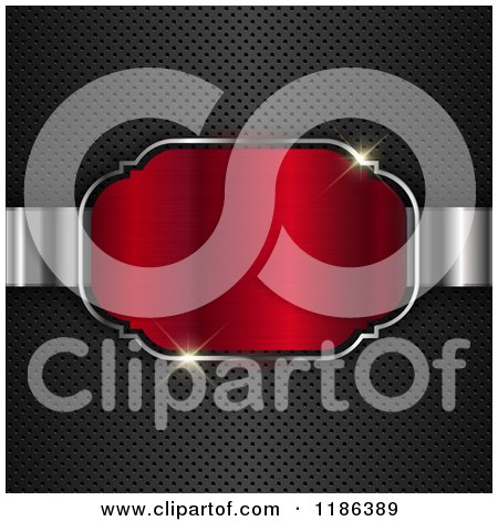 Clipart of a 3d Red Frame with Sparkling Lights over Perforated Metal - Royalty Free Vector Illustration by KJ Pargeter