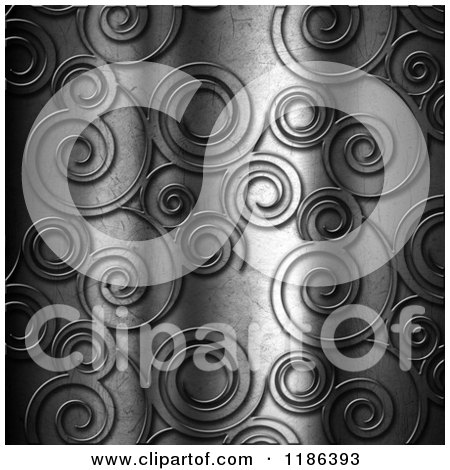 Clipart of a 3d Swirl Embossed Metal Background - Royalty Free CGI Illustration by KJ Pargeter