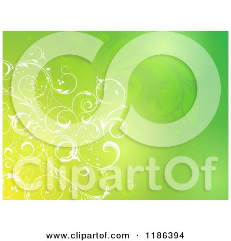 Clipart of a Gradient Green Background with Floral Vines - Royalty Free Vector Illustration by KJ Pargeter