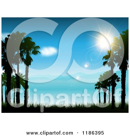 Clipart of the Sun Shining over a Blue Coastal Landscape and Sea - Royalty Free Vector Illustration by KJ Pargeter
