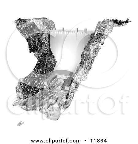 Tall Dam Clipart Illustration by AtStockIllustration