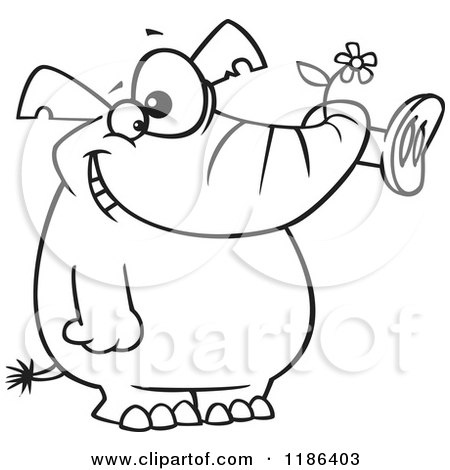 Elephant Holding A Flower Coloring Page : Royalty Free (RF) Clip Art Illustration of a Cartoon Black And White Outline Design Of A Woman ...