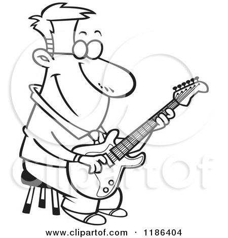 Cartoon Of A Black And White Happy Man Playing A Guitar On A Stool