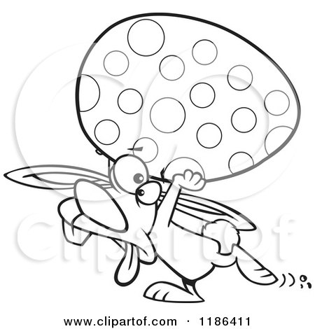 Cartoon of a Black And White Tired Easter Bunny Carrying a Big Egg - Royalty Free Vector Clipart by toonaday
