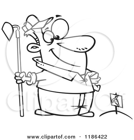 Cartoon of a Black And White Proud Man Standing with a Hoe over Planted Carrots - Royalty Free Vector Clipart by toonaday