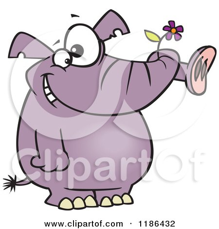 Cartoon of a Giddy Purple Elephant Holding a Flower in His Trunk - Royalty Free Vector Clipart by toonaday