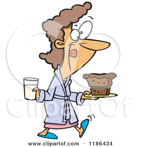 Cartoon of a Woman in a Robe, Licking Her Lips and Carrying Milk and Cake - Royalty Free Vector Clipart by toonaday