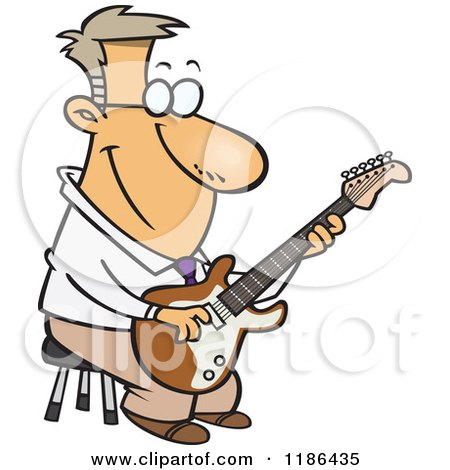 Cartoon of a Happy Man Playing a Guitar on a Stool - Royalty Free Vector Clipart by toonaday