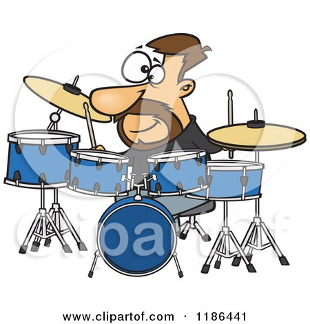 Cartoon of a Drummer Dude with His Instruments - Royalty ...