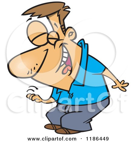 Cartoon of a Man Laughing and Slapping His Knee - Royalty Free Vector Clipart by toonaday
