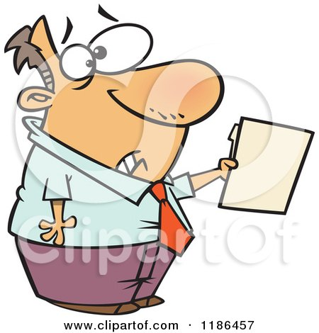 Cartoon of a Scared Man Holding out a File - Royalty Free Vector Clipart by toonaday