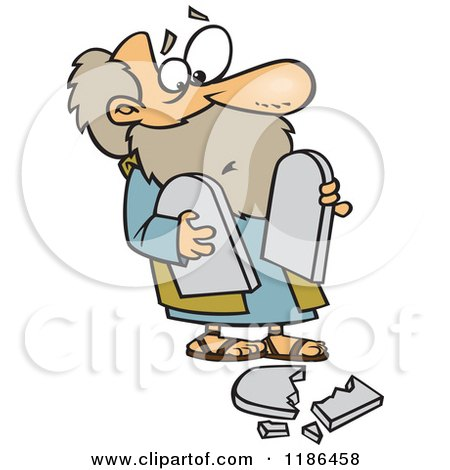Cartoon of Moses Dropping a Tablet - Royalty Free Vector Clipart by toonaday