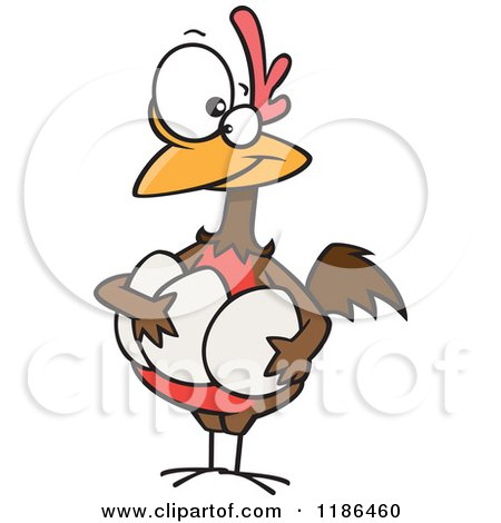 Cartoon of a Proud Hen Holding Her Eggs - Royalty Free Vector Clipart by toonaday